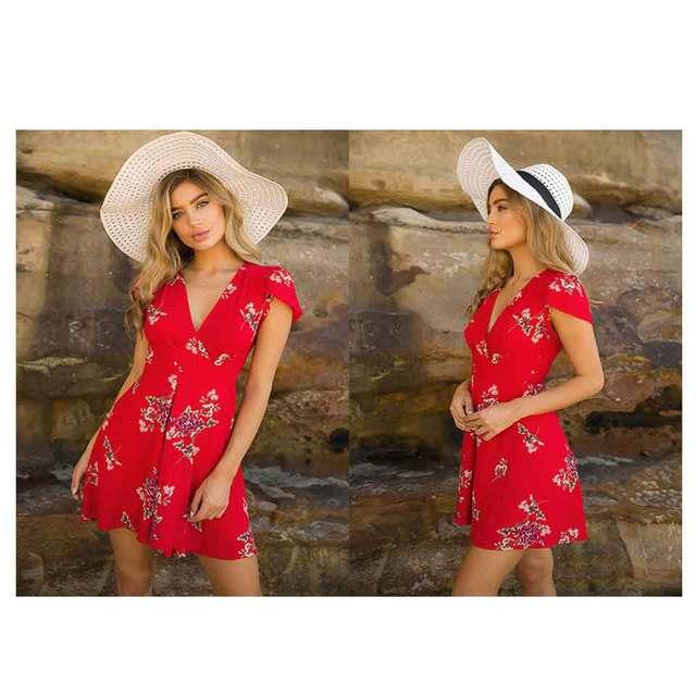 Cross V-neck Short-Sleeved Large Print Dress 3