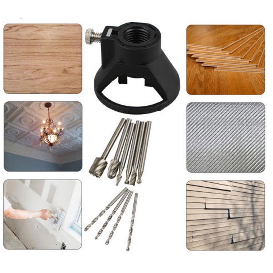 Rotary Multi Tool Cutting Guide Kit De Fixation HSS routeur Drill Bits Pour Dremel