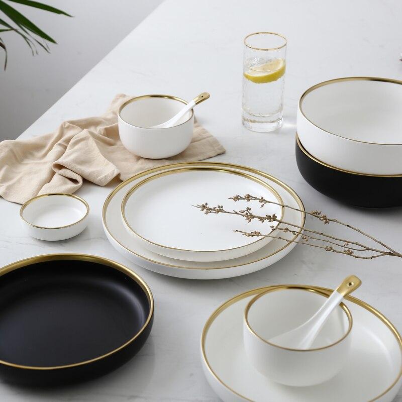 Weiß Und Schwarz Runde Gold Hub Keramik Teller Set Porzellan Steak
