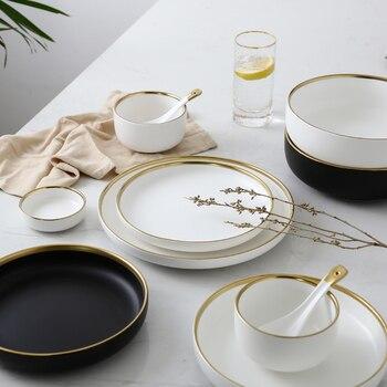 Servies Set Porselein.Wit En Zwart Ronde Goud Slag Keramische Diner Plaat Set Porselein