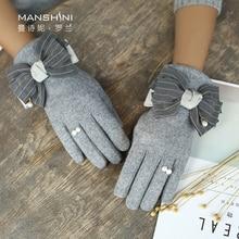 Wool Cashmere Gloves Winter Thin plus velvet thickening gloves winter Touch Screen Lovely womens telefingers 0820