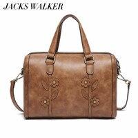 Female Travel Bag Women Large Tote Leather Hand Bag Vintage Flower Luxury Handbag Ladies Business Shoulder Bag Shopper Bag