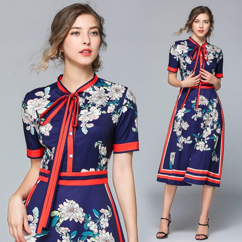 Vestidos de diseñador pasarela 2019 alta calidad otoño Casual Camisa vestido mujeres arco Vintage vestido Vestidos bata Mujer