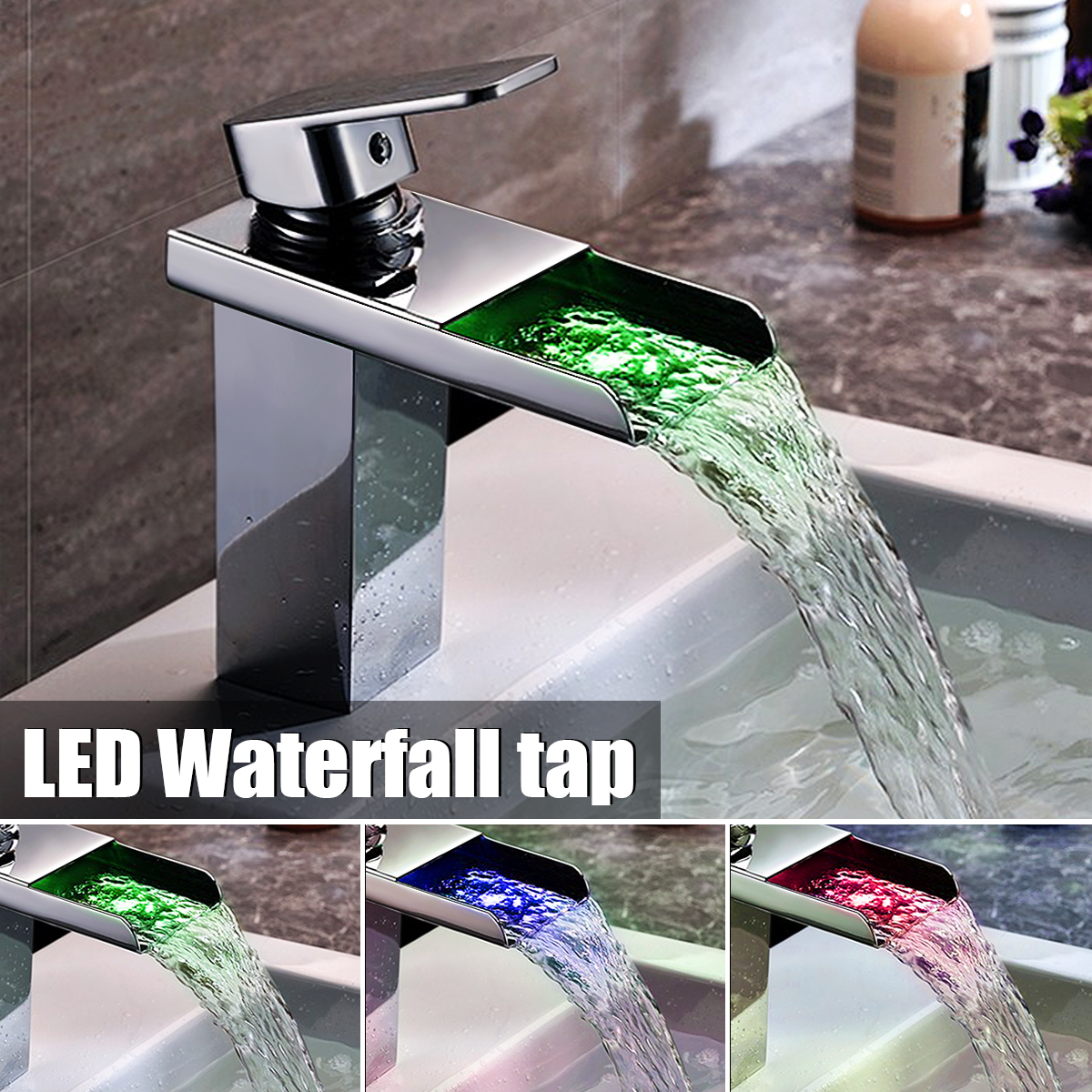 3 Color LED Brass Finish Waterfall Basin Faucet Chrome Polished Single Handle Faucet Bathroom Bathtub Sink