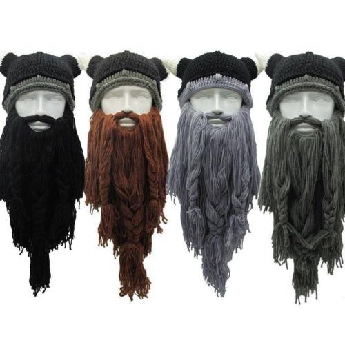 Hirigin Funny Beanies 2019 Men s Viking Beard Horn Hat Vagabond Barbarian  Winter Crazy Cool Ski Beanie Knitted Caps be31054864d