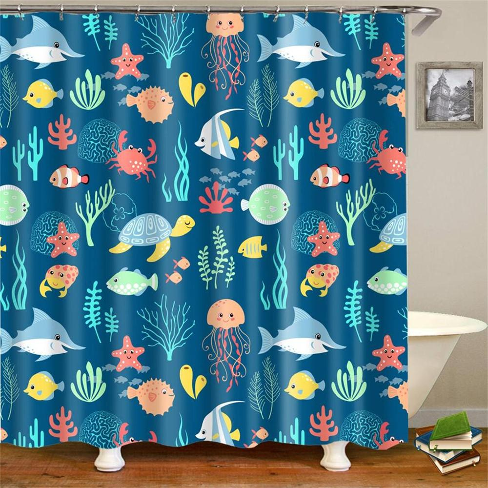 Cartoon Kids Fabric Shower Curtain Waterproof Blue Ocean