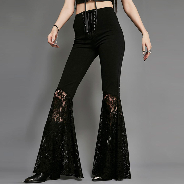d4c7abf85b9 Tall Women Boot Cut Pants Embroidery Bandage Lace Up Long Flare Trousers  Wide Leg Bell Bottoms
