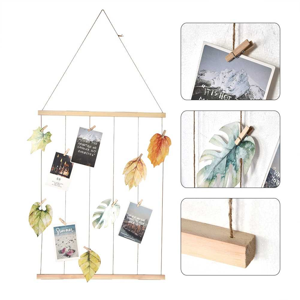 Hanging Picture Frame for Photo DIY Picture Photo Frame Holder Macrame Wall Hanging Pictures Organizer with Clips Twines