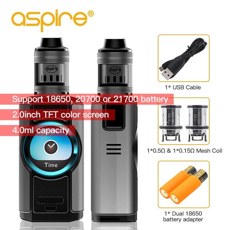 Kit de Vape d'origine Aspire Dynamo avec réservoir Nepho 4 ml 220 W boîte Mod 510 fil 2 pouces TFT écran vaporisateur Cigarette électronique