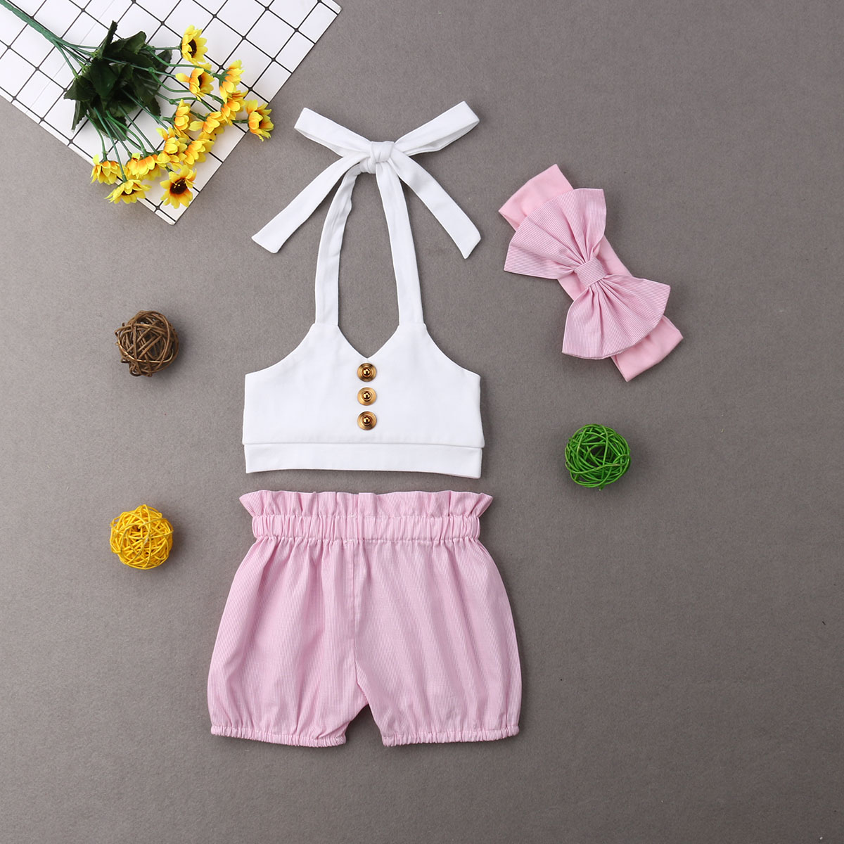 Neugeborenen Baby Mädchen Sommer Kleidung Overall Bandage Tops Shorts Outfits