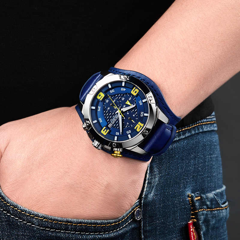 MEGIR גדול Mens שעוני יוקרה מותג הכרונוגרף קוורץ שעון גברים עם עור Bracer Relogio Masculino Reloj Hombre Dropship