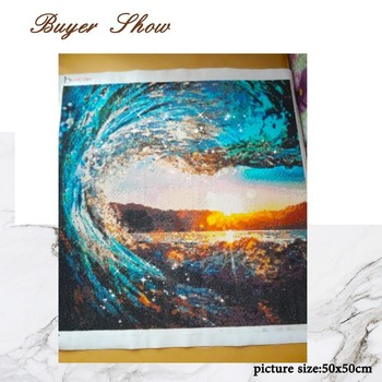 HUACAN Diamond Mosaic Scenery 5D DIY Diamond Painting Cross Stitch Sunset Embroidery Sea Wave Handicraft