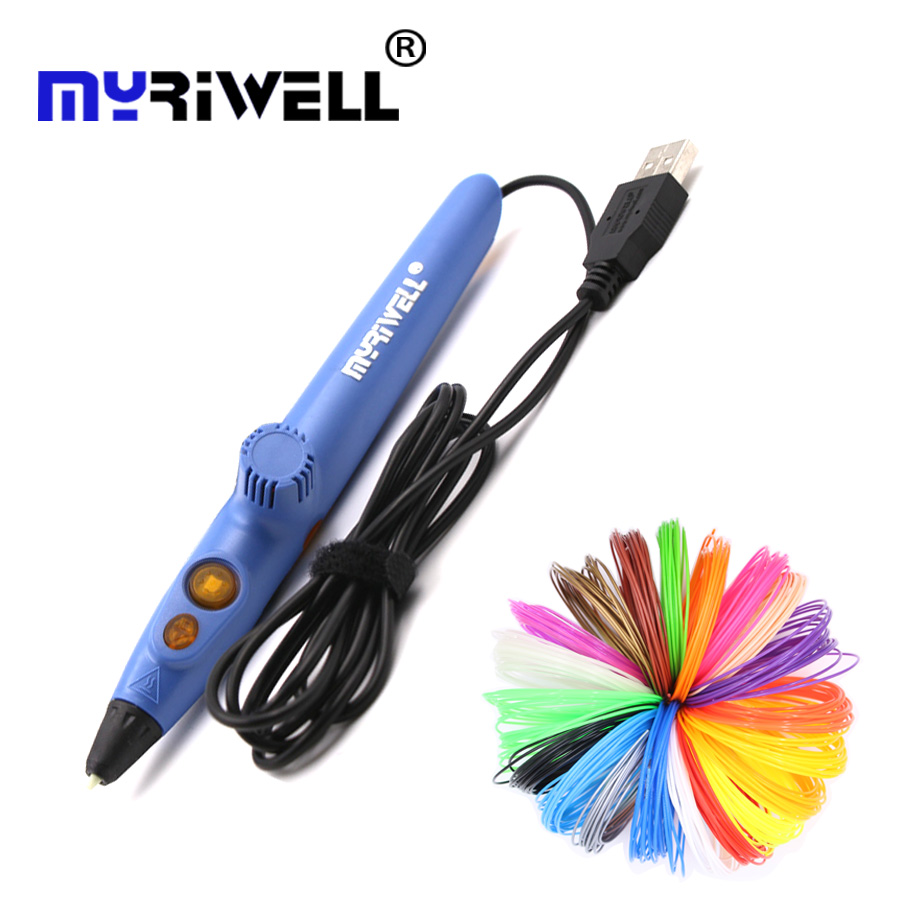 Myriwell Newest RP-200A 3D Printing Pen Using PCL Material Free Filament Low Temperature Protection For Kid Gift Toy USB 3D Pens
