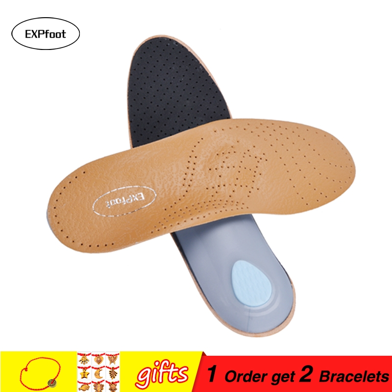 2 pairs/lot High quality Leather orthotics Insole for Flat Foot Arch Support 25mm orthopedic Silicone Insoles for men and women kotlokoff premium eva pad leather orthotics insole for flat foot arch support orthopedic silicone insoles for men and women