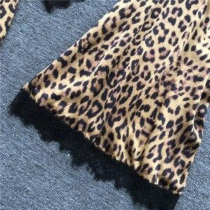 Image 3 - Summer Sexy Leopard Print Lace Camisole Nightdress+Cardigan Twinset Robe Suit Long Sleeve Sleepwear