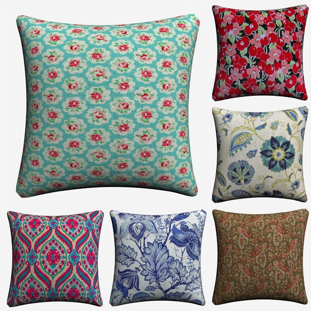 Provence France Flowers Psychedelic Decorative Cotton Linen Cushion Cover 45x45 cm For Sofa Chair Pillowcase Home Decor Almofada