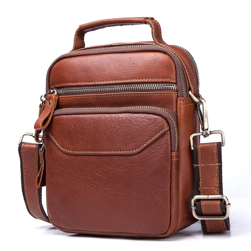 Luxury Crossbody Handbag Bolsas Sling Chest For Male Cowhide Genuine Leather Original Messenger Bag Men Shoulder Bag