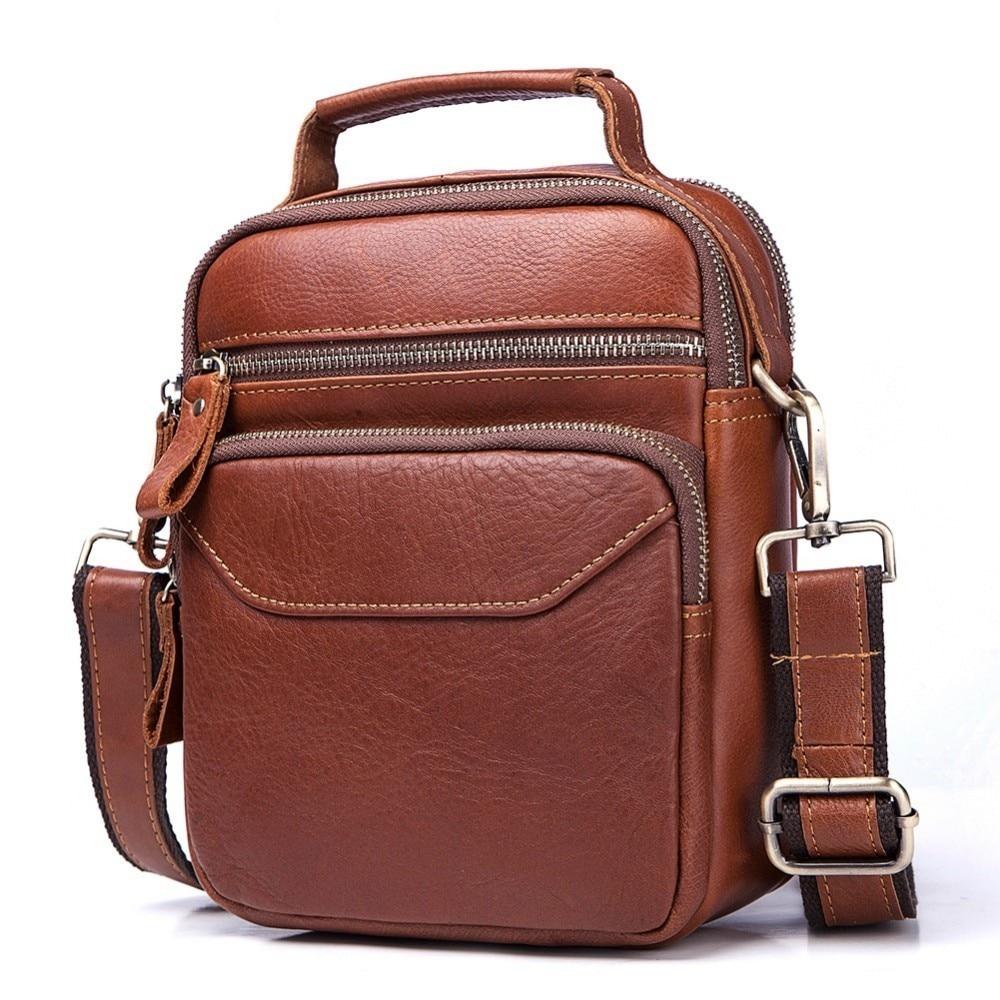 Luxury Crossbody Handbag Bolsas Sling Chest For Male Cowhide Genuine Leather Original Messenger Bag Men Shoulder Bag