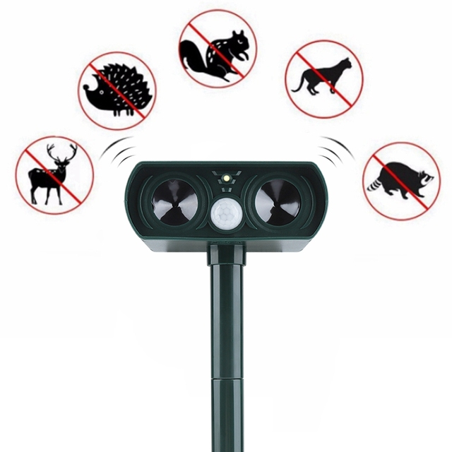 Garden Solar Ultrasonic Drive Pest RejectAnimal Bird Cat Dog Fox Repeller Repellent Built in Battery