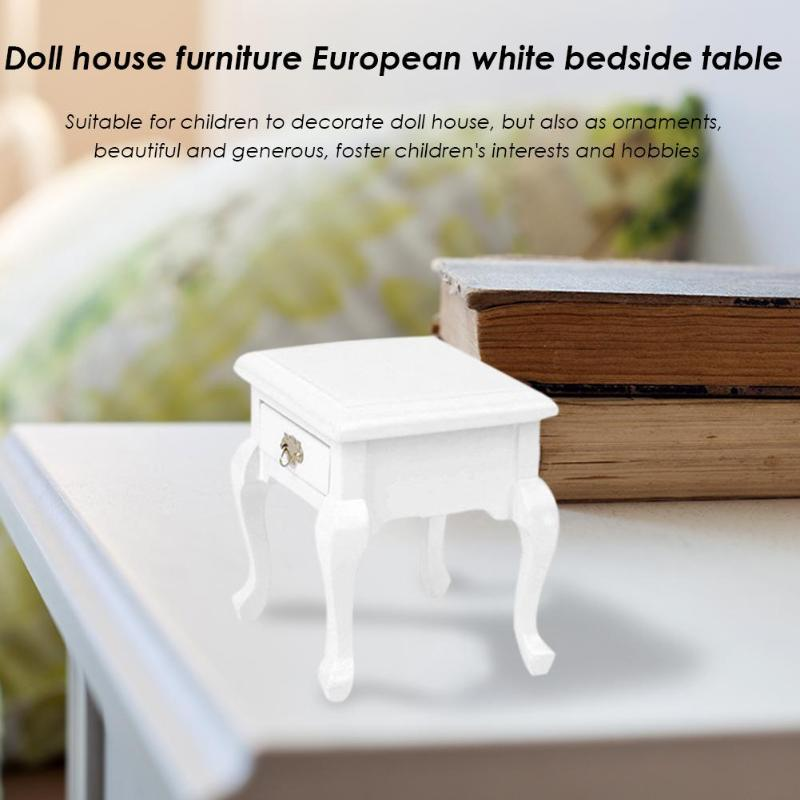 Home White Doll House 1:12 Bedside Cabinet Wooden Furniture Lockers Beautiful Cute Dollhouse Decor Accessories In Many Styles
