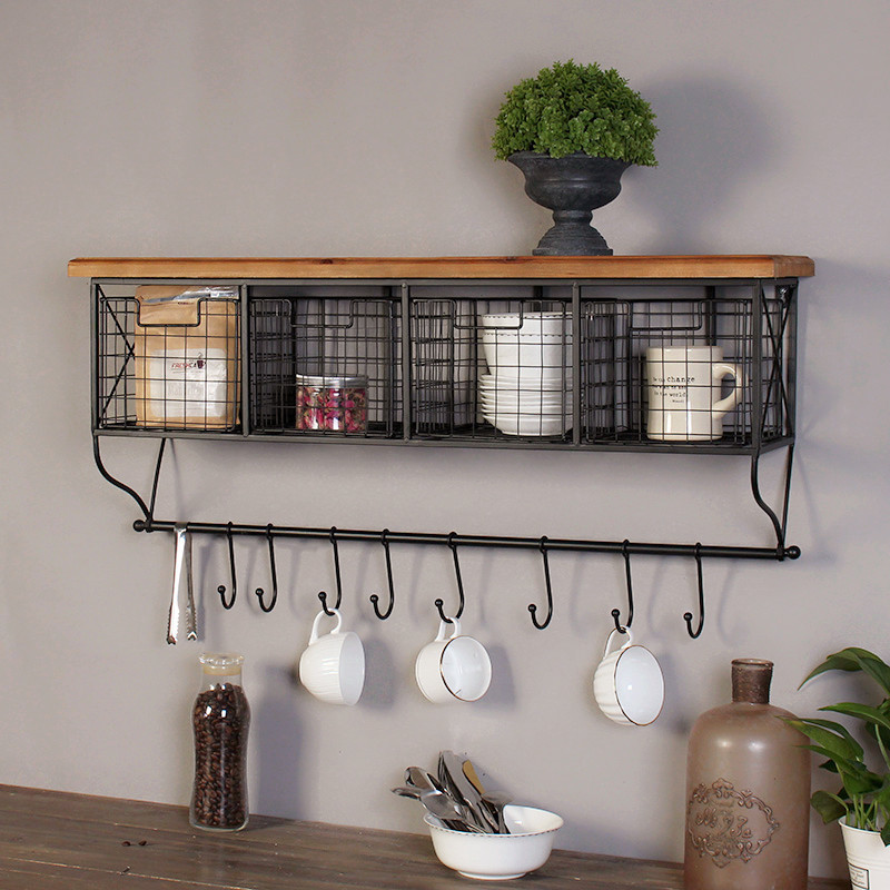Retro industrial wind grid wall decoration rack hook cafe office home wall American ornaments