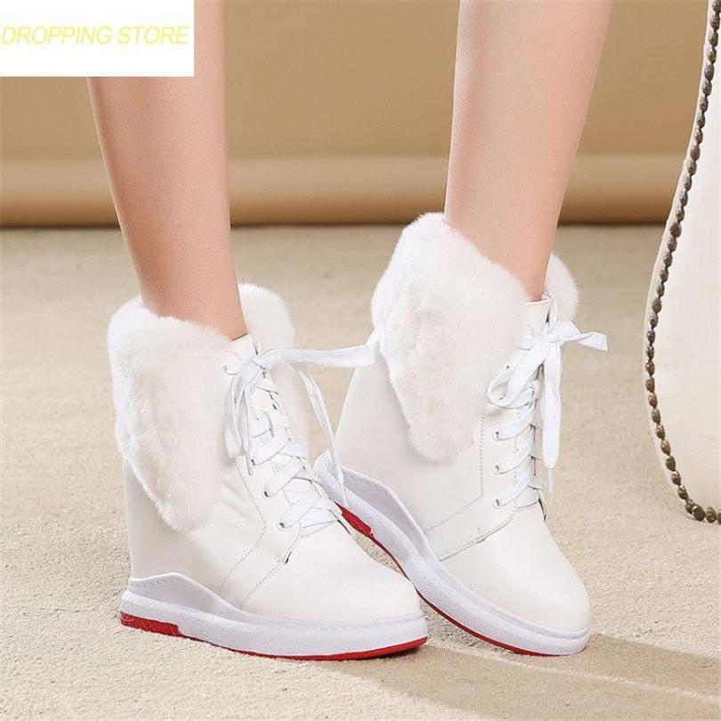 все цены на 2019 Winter Warm Shoes Women Genuine Leather Round Toe Wedges Ankle Boots Wedges High Heel Rabbit Fur Platform Pumps