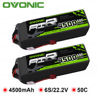 2X Ovonic LiPo Battery 4500mAh 22.2V LiPo 6S 50C 100C Battery Pack T and XT60 Plug for RC Car 600 Size Helicopter Quad Drone
