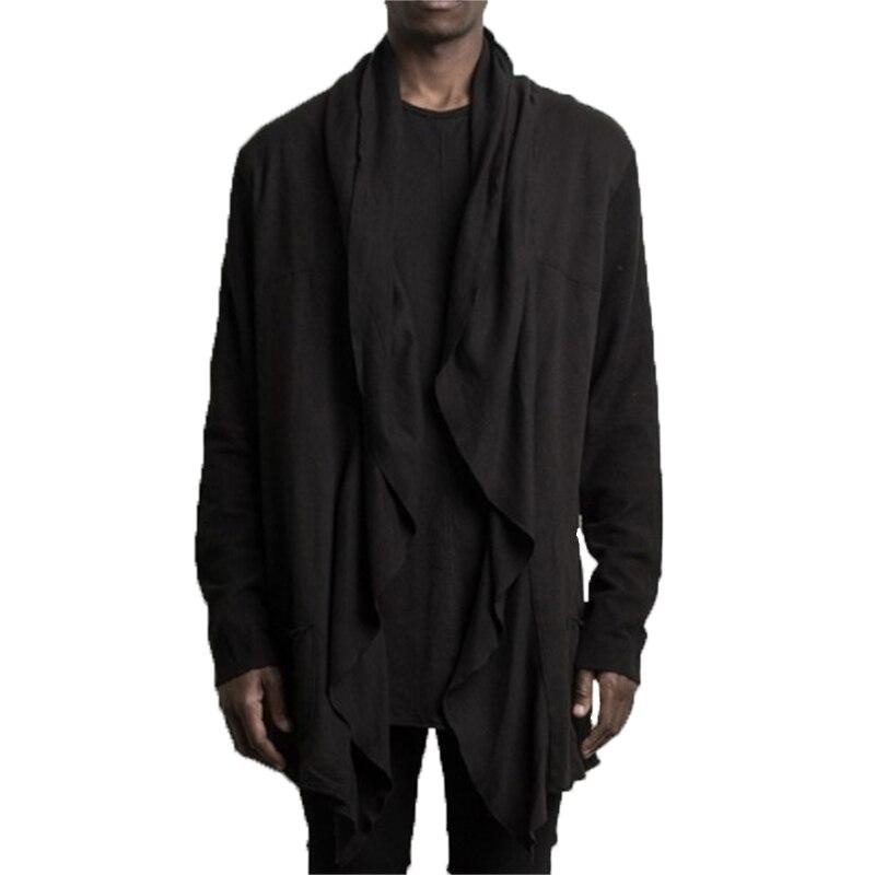 Male Overcoats Cardigan   Trench   Mens Long Outwear Shirts Cloak Coats Long Sleeve Irregular Fashion Mens Outfit Jaqueta Masculina