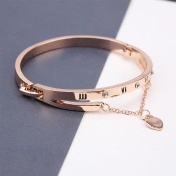 Luxury Famous Brand Jewelry Rose Gold Stainless Steel Female Heart Forever Love Charm Bracelet For Women