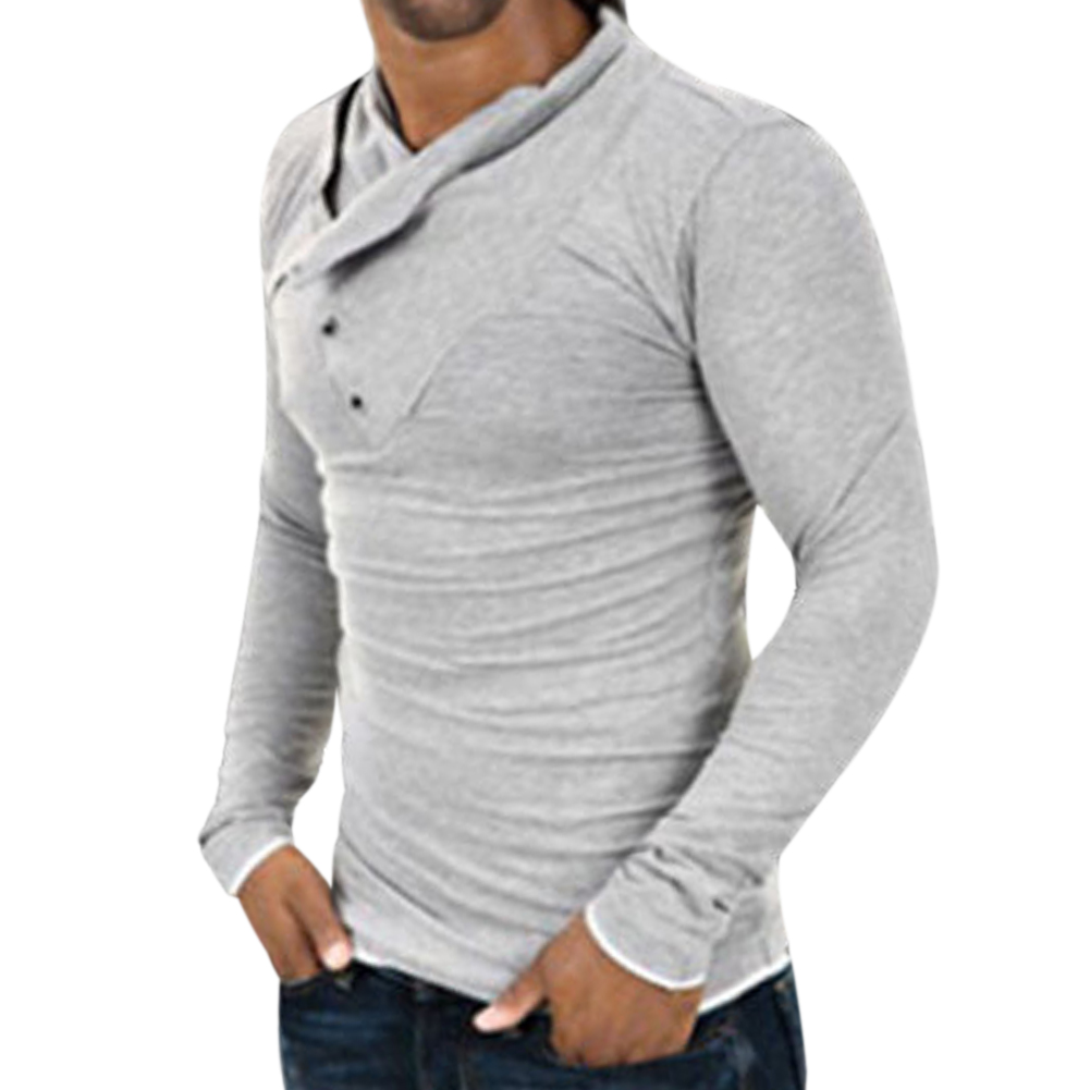 half off buy best 50% off US $11.58 5% OFF|Men's Stylish Tops Tee Slim Fit Casual Fashion Solid T  shirts Men Long Sleeve Top Shirt 2019 New Autumn Pullover-in T-Shirts from  ...