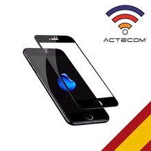 ACTECOM Protector de Pantalla Completa Negro Compatible con iPhone 7 Cristal Templado 3D 5D Borde Negro 4,7 pulgadas