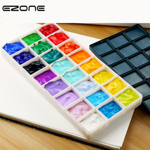 EZONE 10/24/36 Grids Palette Plastic Cases Soft Rubber Cover Palette Watercolor Oil Painting Practical Palette School Art Supply high quality professional watercolor oil acrylic 36 wells painting art palette very large