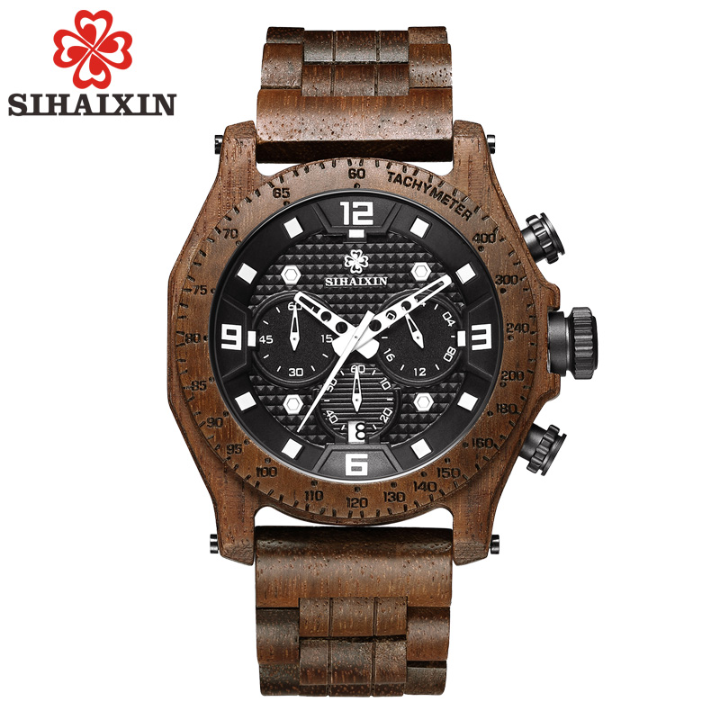 SIHAIXIN male sport wooden watches quartz date top brand luxury bamboo wood man clock waterproof military