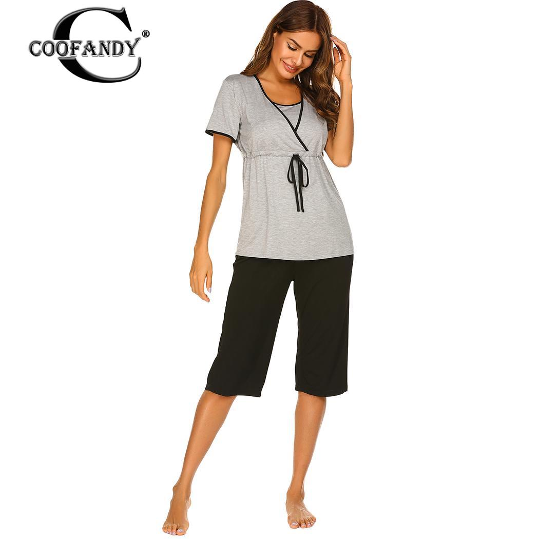 Women Casual Short Sleeve Loose Breastfeeding Maternity   Pajamas     Set