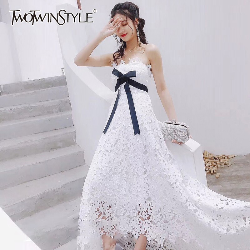 TWOTWINSTYLE Off Shoulder Asymmetrical Dress Women Strapless Sleeveless Bowknot High Waist Hollow Out Maxi Dresses Female 2019-in Dresses from Women's Clothing    2