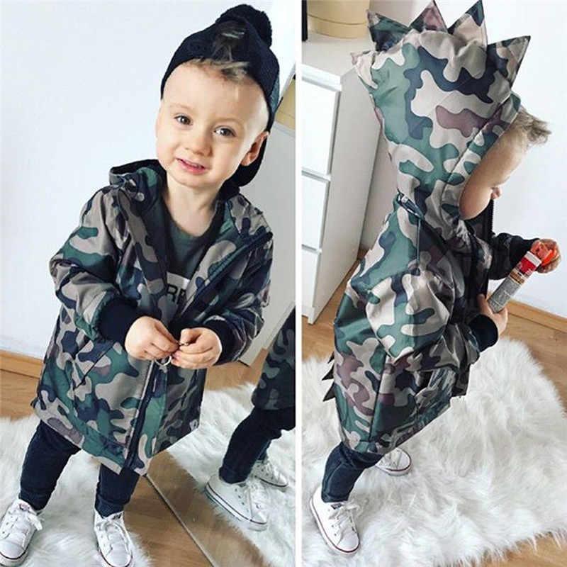 אופנה חמוד ילדי תינוק נערי מעילי דינוזאור סלעית רוכסן ארוך שרוול הסוואה מעילי חורף מעילי הלבשה עליונה 2-7Y