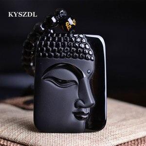 KYSZDL DropShippin натуральный обсидиан камень Топ Модный кристалл кулон голова Будды ожерелье кулон подарок для мужчин и женщин