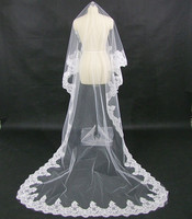 One Layer Lace Edge Cathedral Wedding Veil Long Bridal Veil
