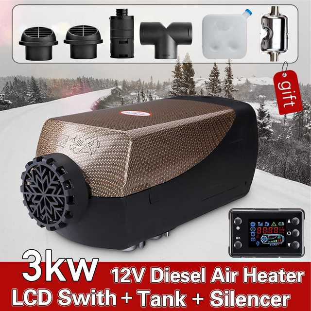 3KW/5KW 12V Car Fuel Heater Parking Warmer Free Silencer Kit LCD Switch With Remote Control Camping Home Truck Motorhome