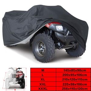 Universal Black 190T Motorcycle Waterproof Cover Quad Bikes ATV For Polaris Honda Yamaha Suzuki Size M L XL 2XL 3XL D15