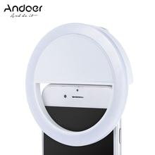 Andoer إضاءة السليفي المحمولة البسيطة كليب على ملء في 36 LED Selfie مصباح مصمم على شكل حلقة ل فون X 8 7 زائد ل سامسونج هواوي Ringlight