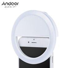 Andoer Selfie แบบพกพา Mini Clip on ไฟ LED 36 LED Selfie Ring Light สำหรับ iPhone X 8 7 Plus สำหรับ Samsung Huawei Ringlight