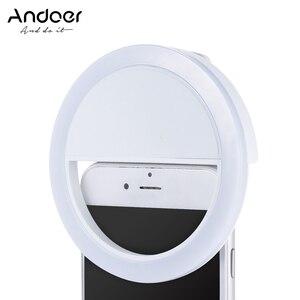 Image 1 - Andoer Selfie แบบพกพา Mini Clip on ไฟ LED 36 LED Selfie Ring Light สำหรับ iPhone X 8 7 Plus สำหรับ Samsung Huawei Ringlight