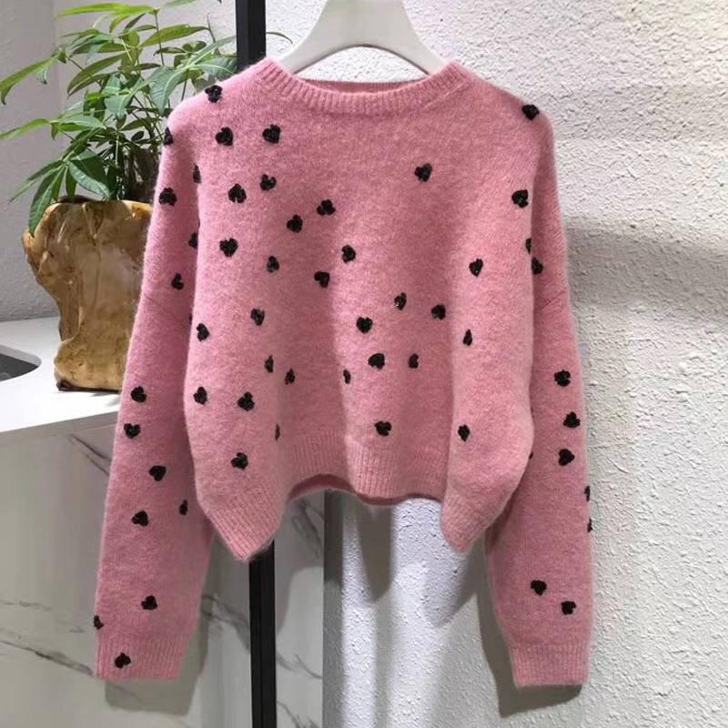 Casual Pulls Manches 2018 Court Longues Chandail Rose Automne Femmes Mohair À Paillettes HF1pWcyf