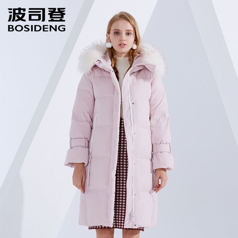 BOSIDENG winter   down     coat   long   down   jacket women hooded real fur collar thicken outwear high quality B80141540DS