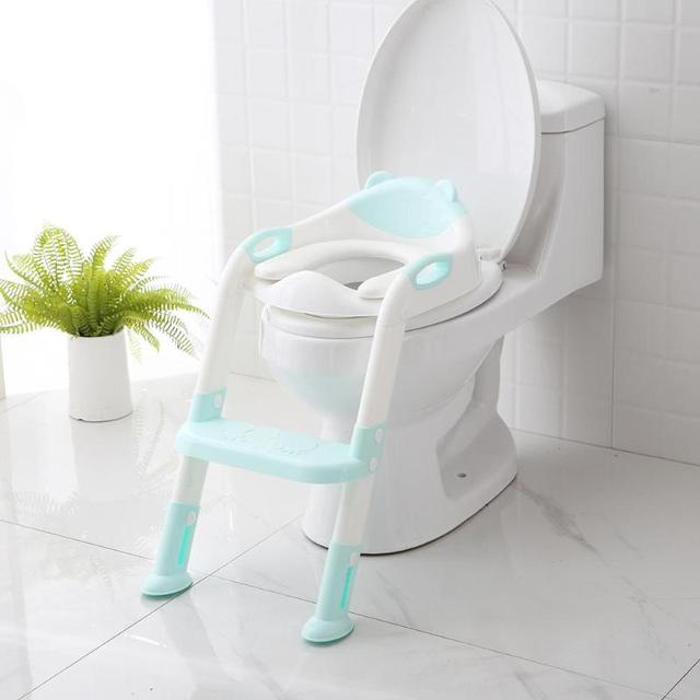 Folding Baby Potty Infant Kids Toilet Training Seat with Adjustable Ladder comfortable backrest cartoon cute pot PNLO | Happy Baby Mama