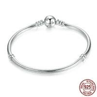Classic 100% 925 Sterling Silver Snake Chain Dsny, Miky Basic Diy Charm Bracelet For Women Fashion Jewelry Pas912 BAMOER BAMOER