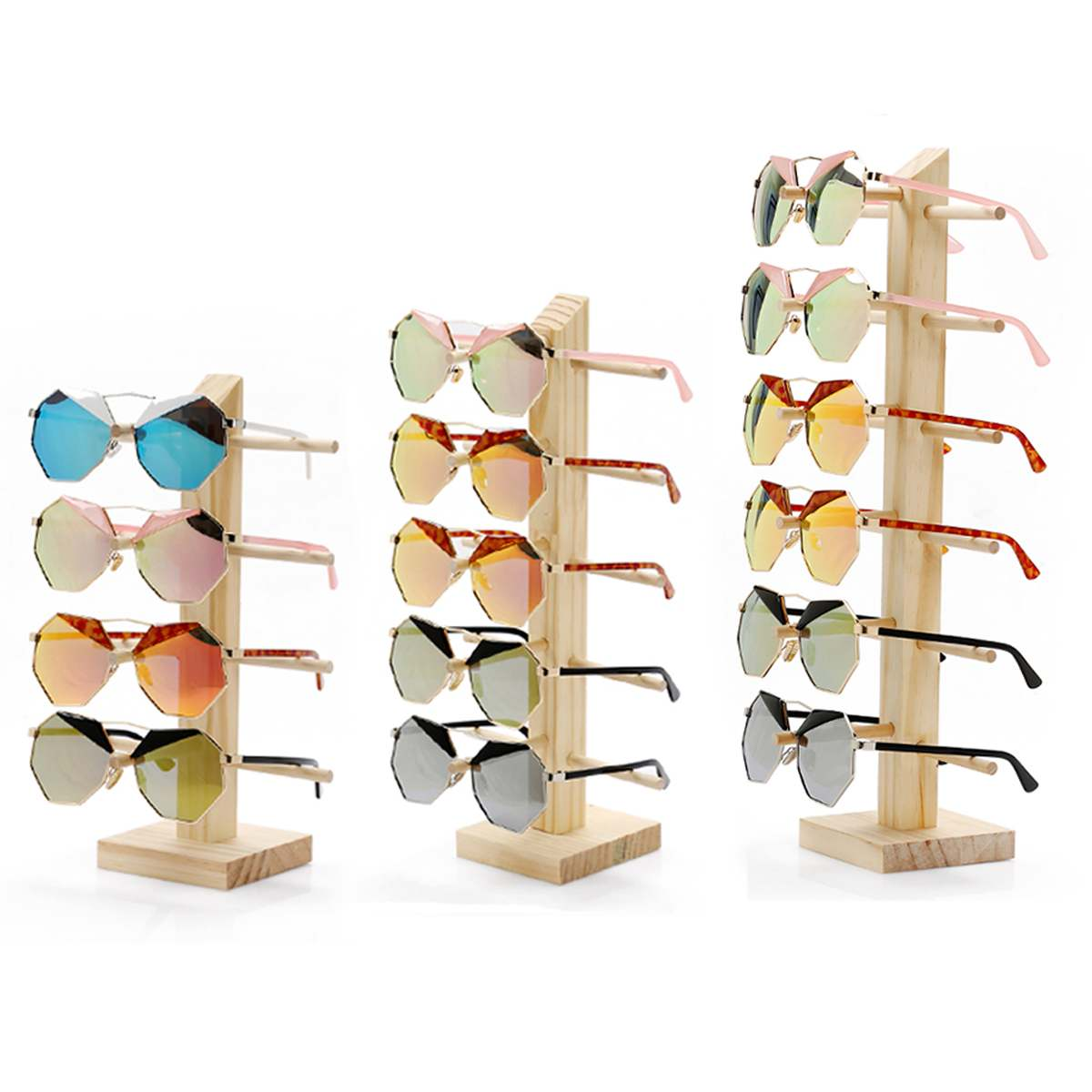 Shelf Jewelry-Holder Display-Rack Glasses Showcase Sunglass Show-Stand Wood for Multi-Pairs title=