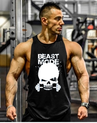 New Skull Beast Gyms vest summer undershirt spaghetti strap slim short sleeve fitness gym athletic sport   tops