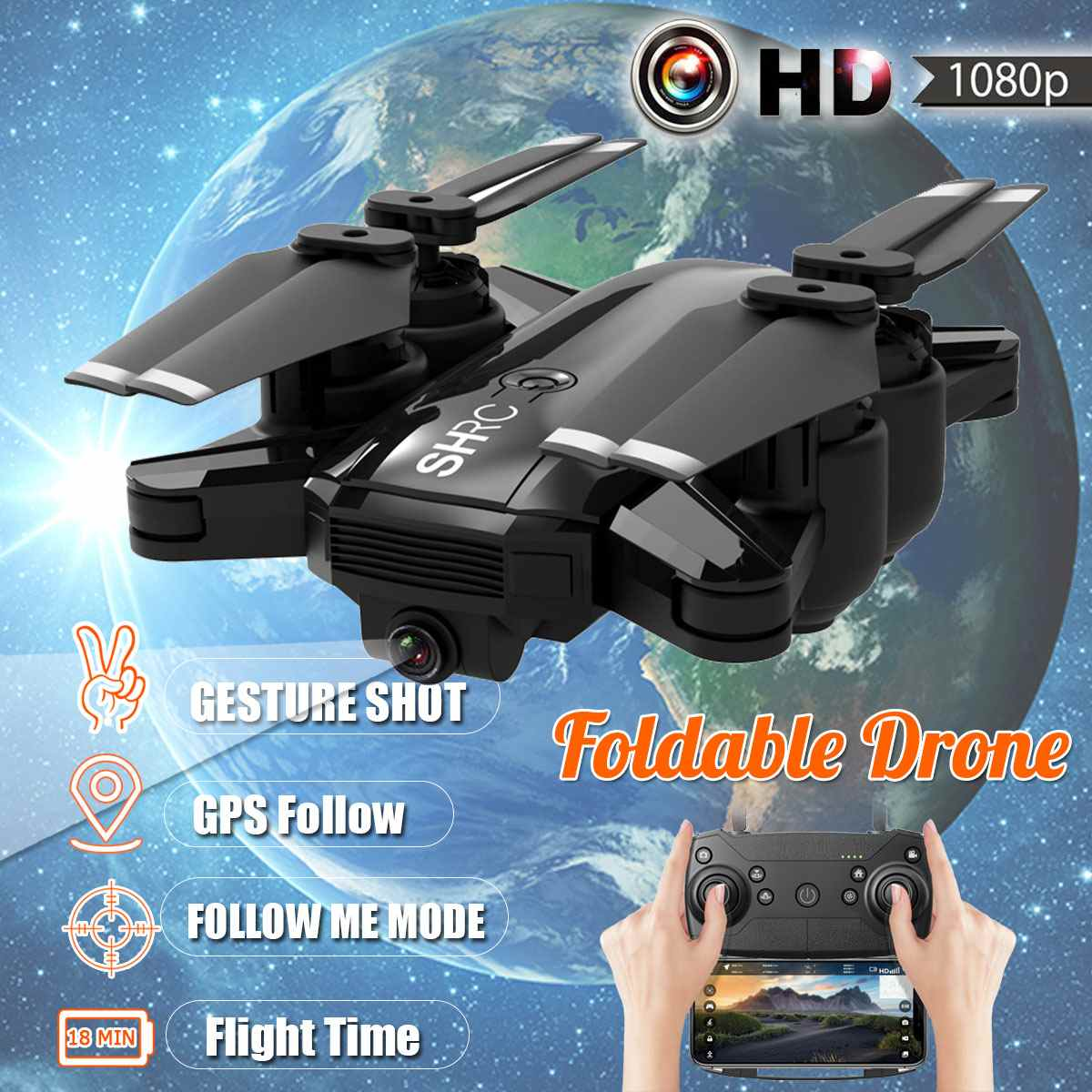 GPS Drone Quadcopter With Camera HD 1080P Professional Foldable FPV 5.0Ghz 4CH Wifi Follow Me RC Drones Set Circle / Point FlyGPS Drone Quadcopter With Camera HD 1080P Professional Foldable FPV 5.0Ghz 4CH Wifi Follow Me RC Drones Set Circle / Point Fly